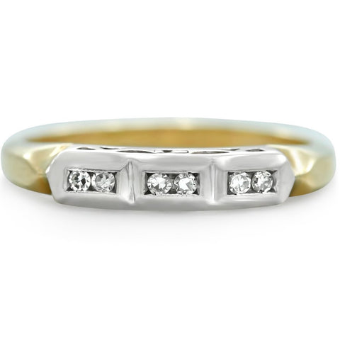 two-toned single cut white diamond estate wedding band from the 1940s