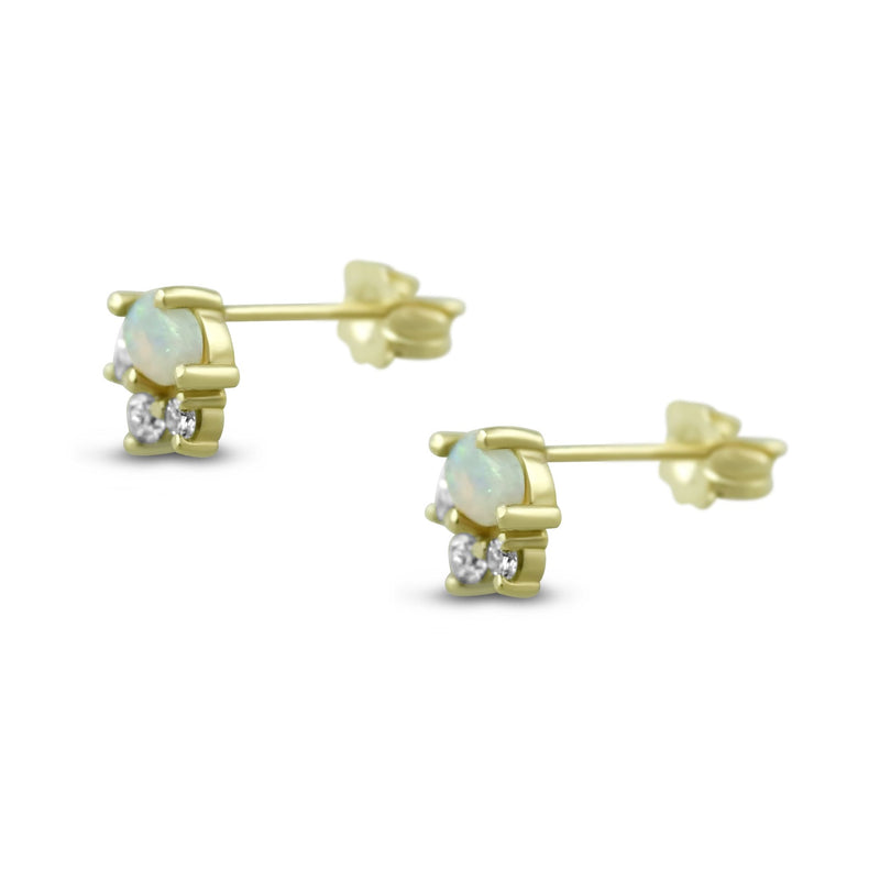 14k yellow gold cabochon cut opal and round brilliant cut diamond stud earrings