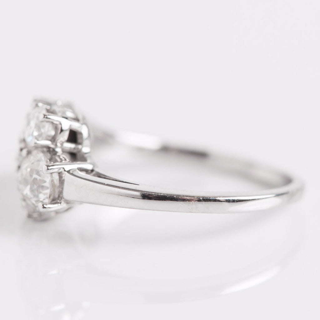 White Gold 3 Bar Diamond Ring Side View
