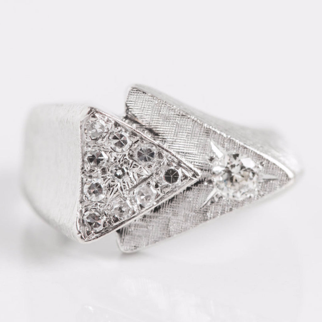 White Gold and Diamond Double Arrow Ring