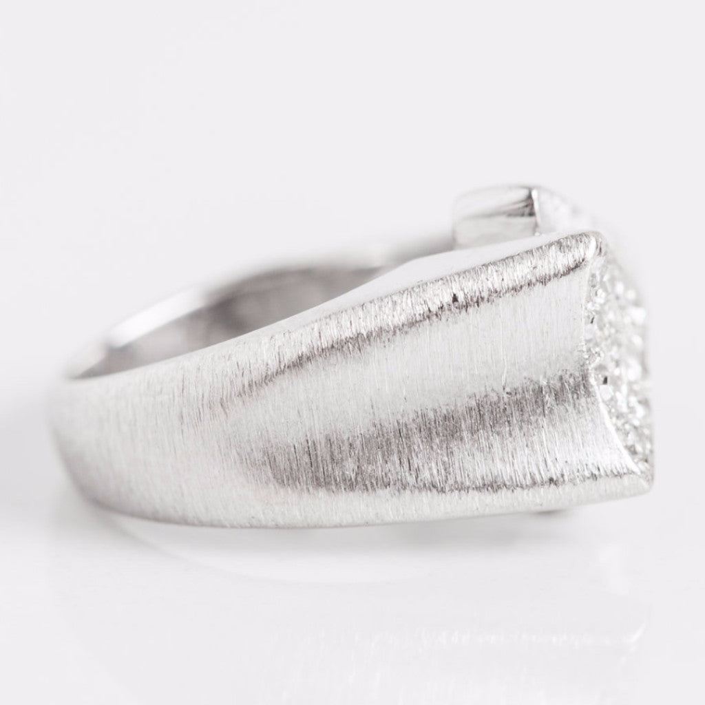 White Gold and Diamond Double Arrow Ring Side View