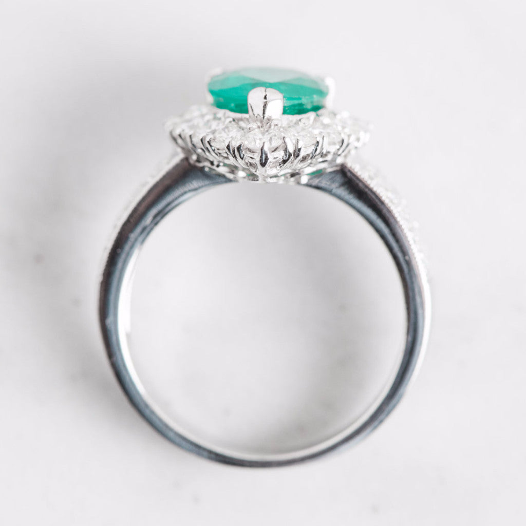 White Gold Diamond Halo and Turqoise Gemstone Pear Ring Top View