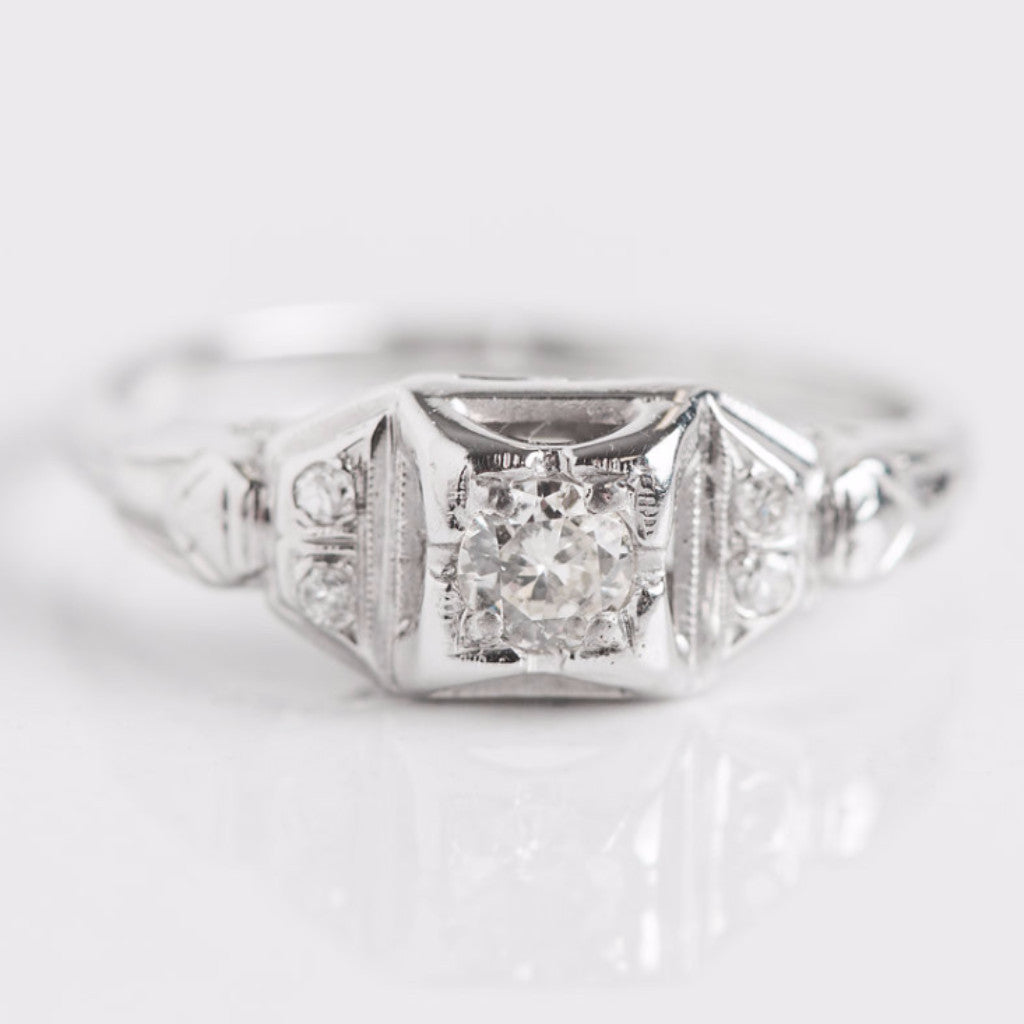 White Gold and Diamond Square Engagement Ring