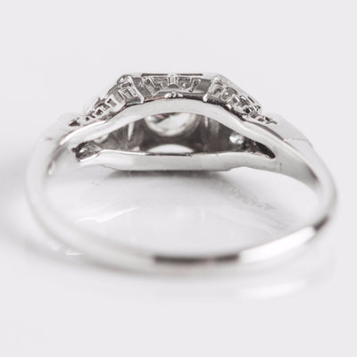 White Gold and Diamond Square Engagement Ring Back View