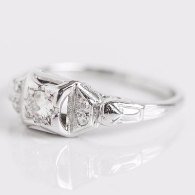 White Gold and Diamond Square Engagement Ring Side View