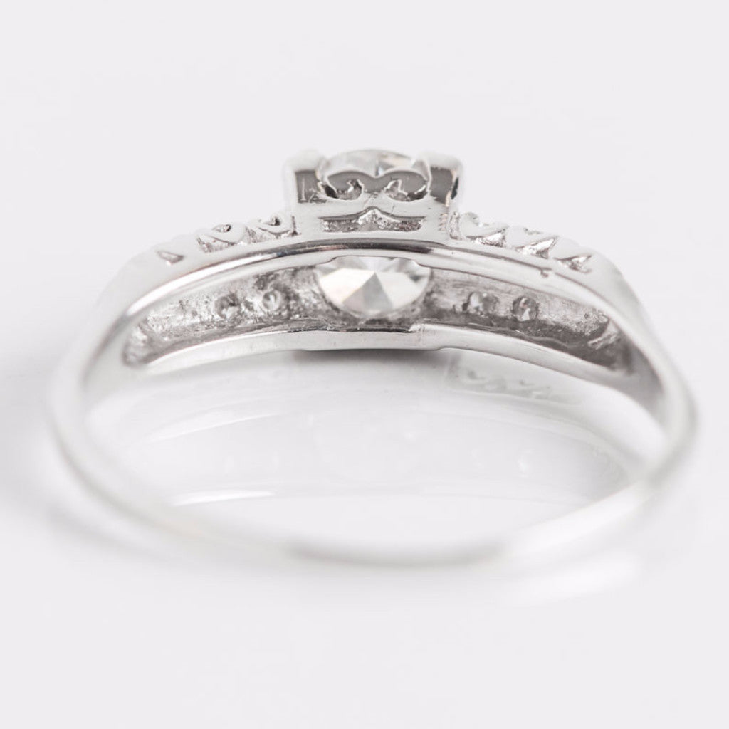 White Gold and Diamond Engagement Ring Back View