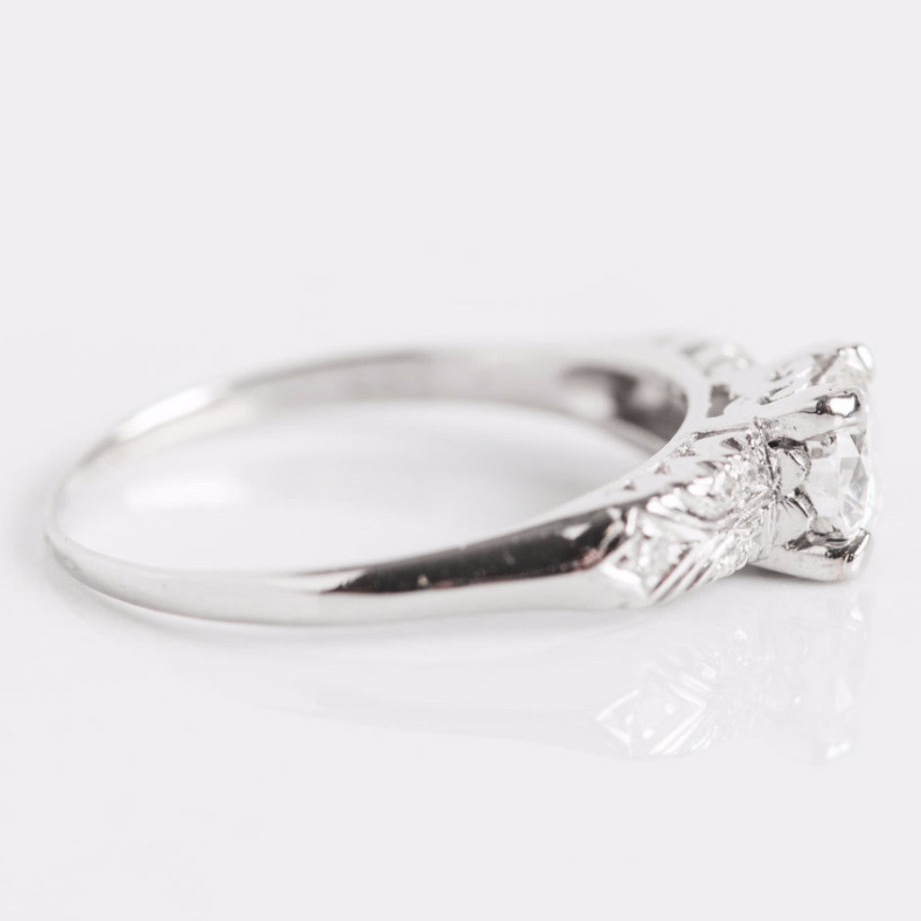 White Gold and Diamond Engagement Ring Side View