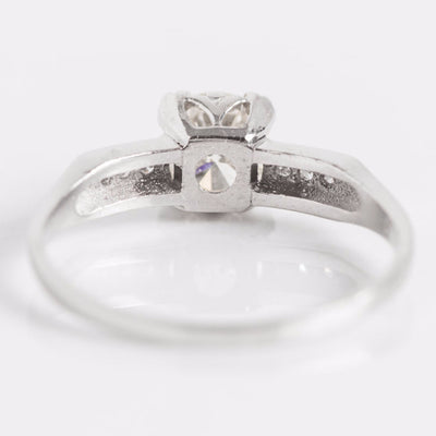 White Gold Diamond Engagement Ring Back View
