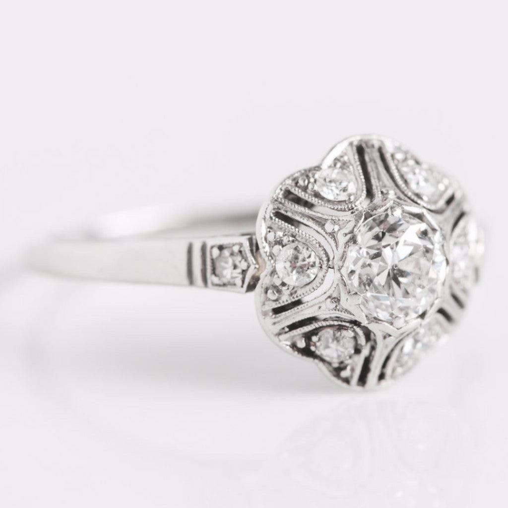 White Gold Diamond Flower Ring Side View