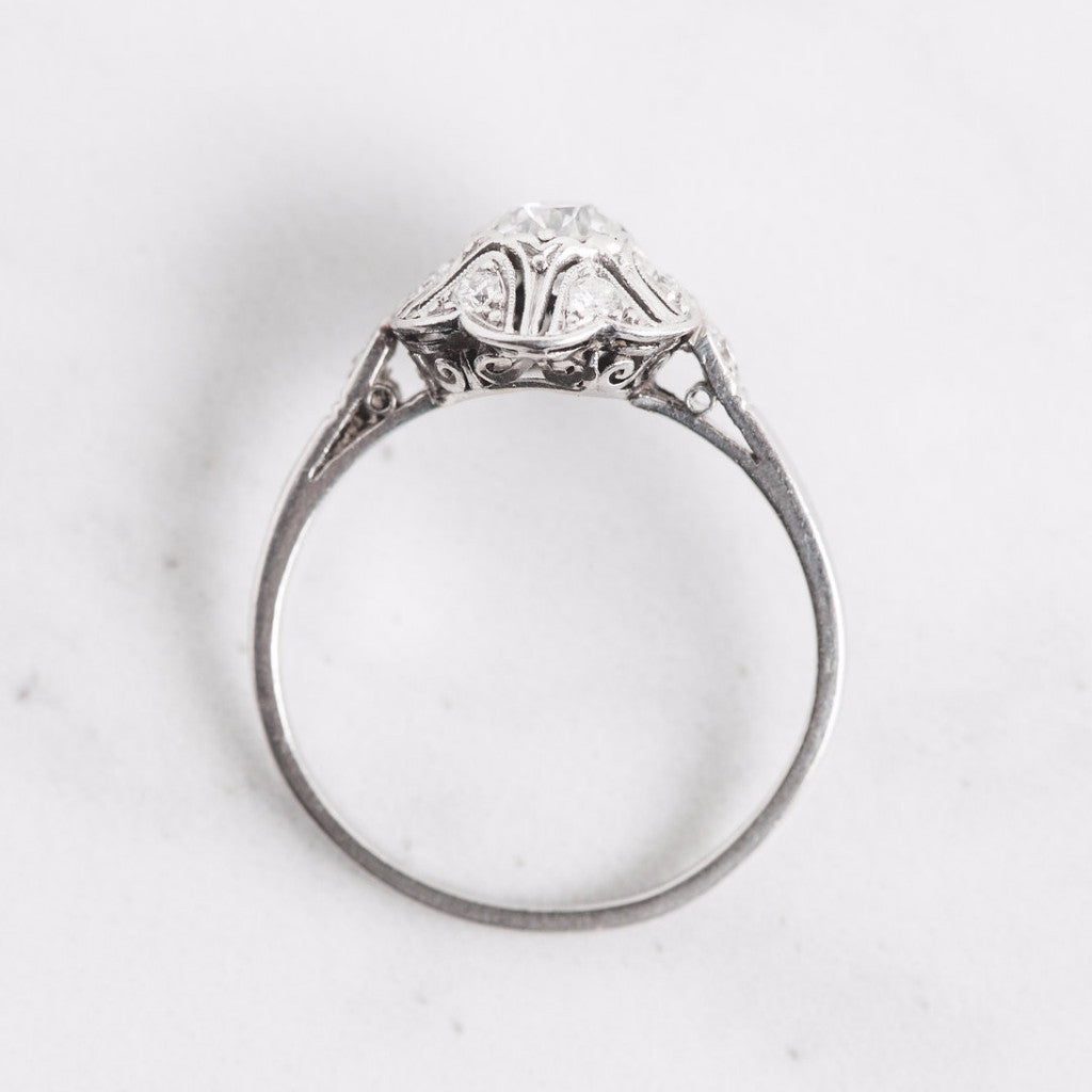 White Gold Diamond Flower Ring Top View