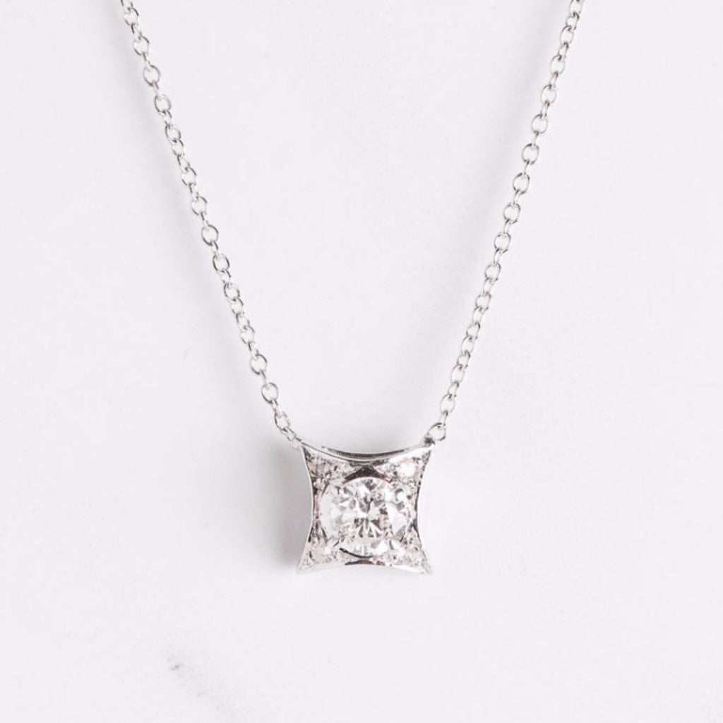 White Gold and Diamond Square Necklace