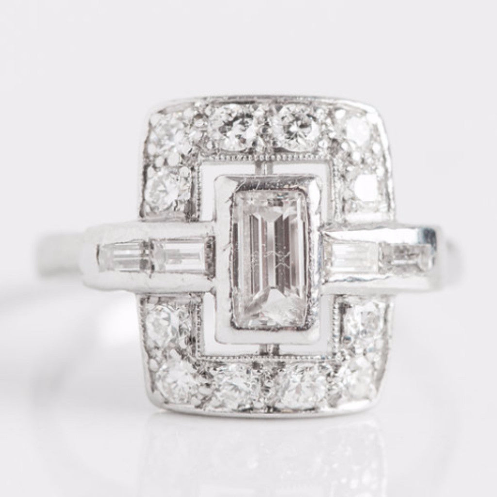 White Gold Diamond Square Ring