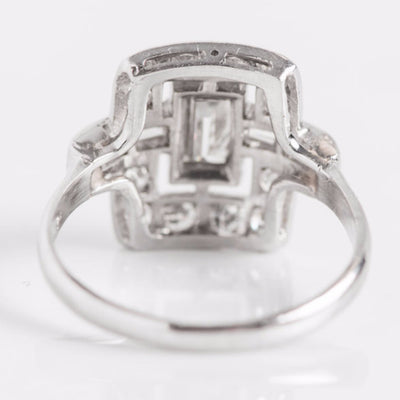 White Gold Diamond Rectangle Ring Back View