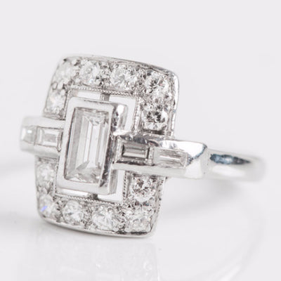 White Gold Diamond Rectangle Ring Side View