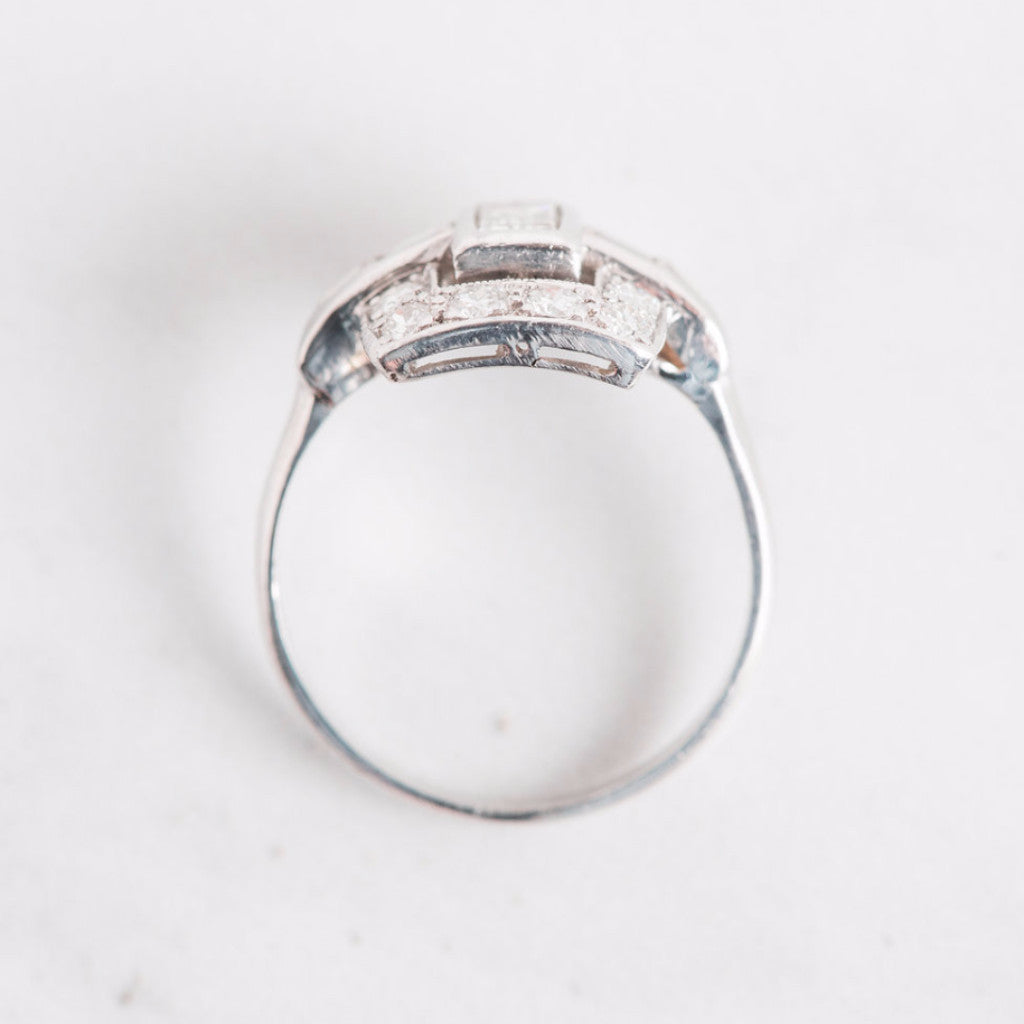 White Gold Diamond Rectangle Ring Top View