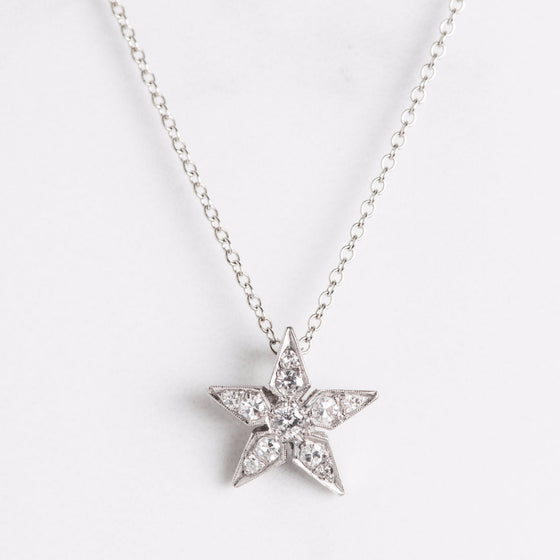 White Gold Diamond Star Necklace
