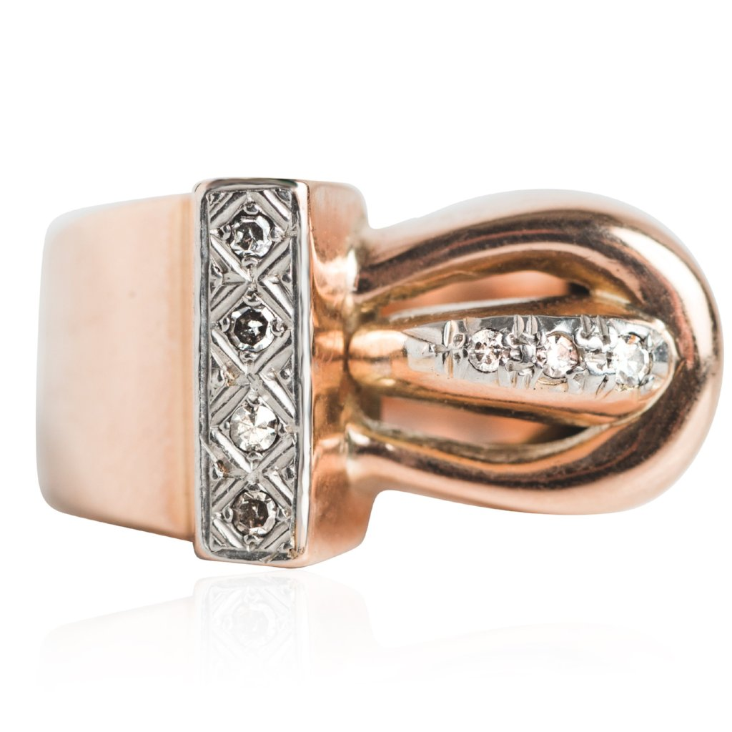 three dimensional retro rose gold platinum and diamond right hand ring