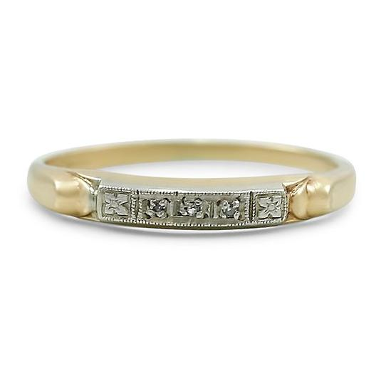 14k yellow and white gold estate wedding band with diamonds