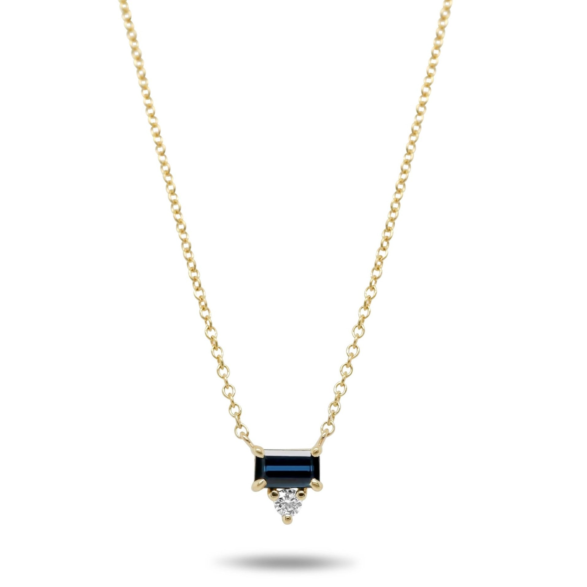 14k yellow gold  blue baguette sapphire and diamond east west set necklace under 1000