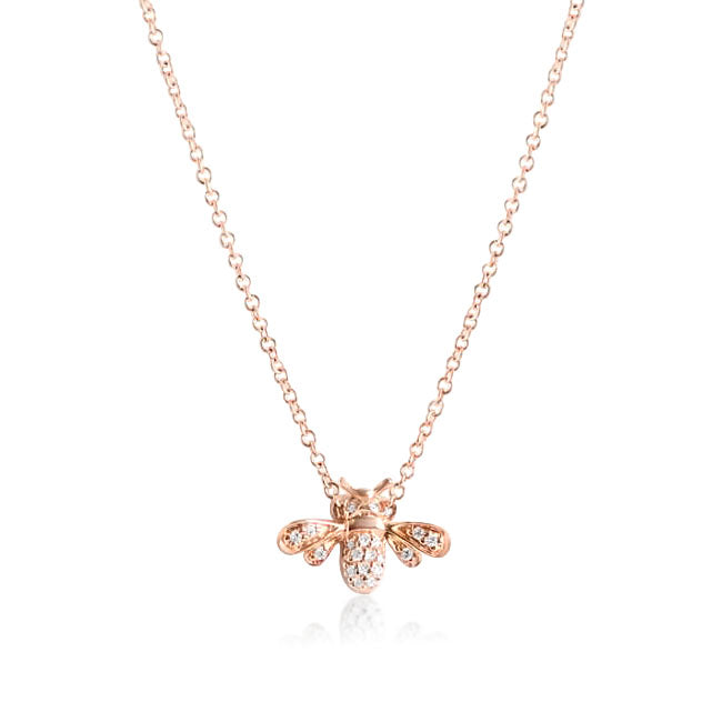 YELLOW GOLD AND DIAMOND BEE NECKLACE