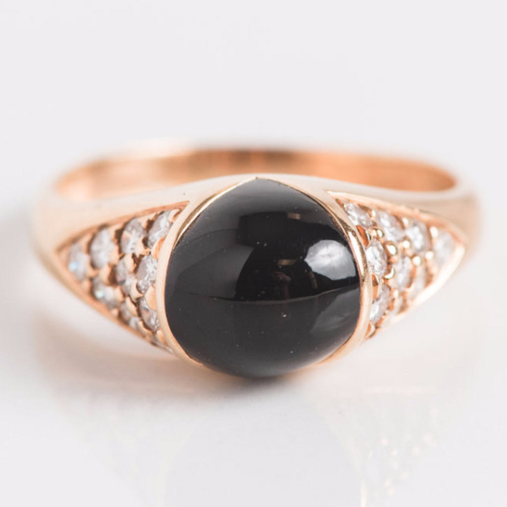 Yellow Gold Diamond and Black Onyx Ring