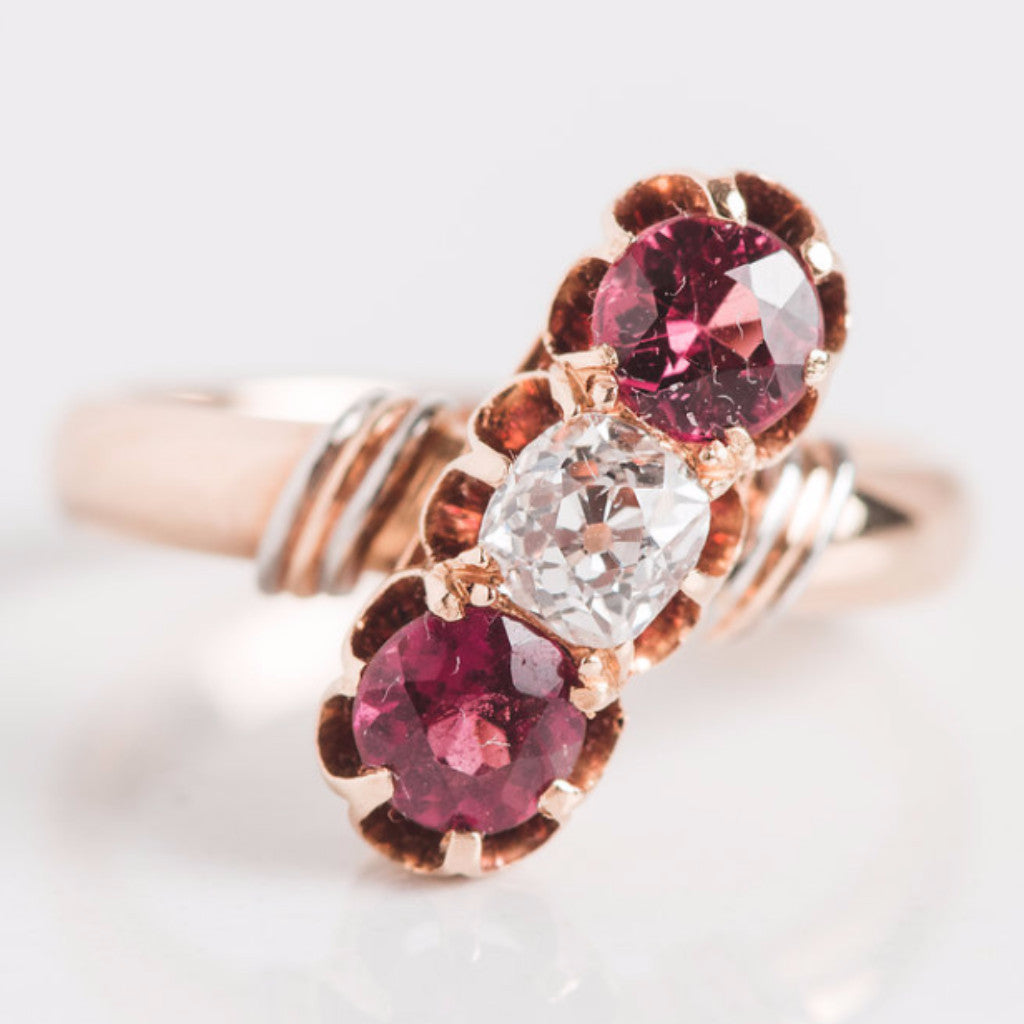 Yellow Gold Diamond and Pink Gemstone Linear Ring
