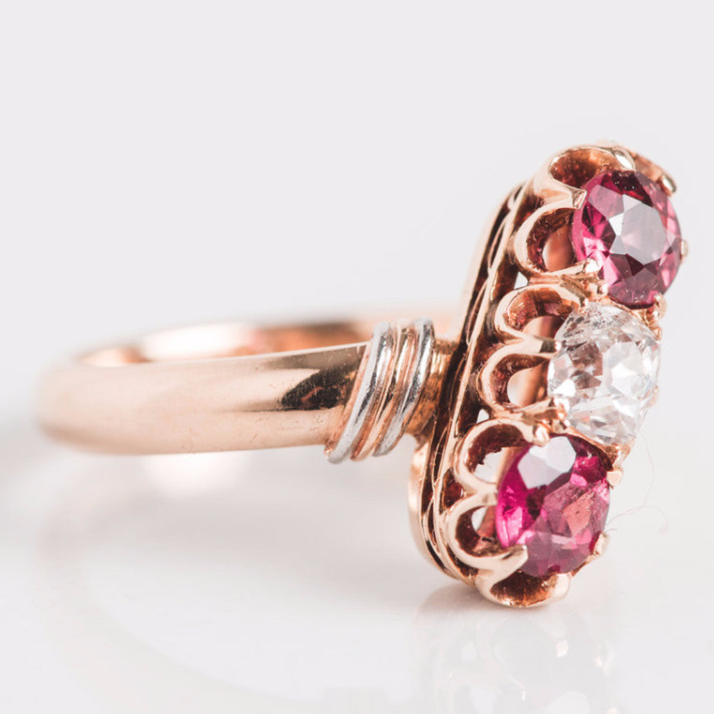 Yellow Gold Diamond and Pink Gemstone Linear Ring Side View