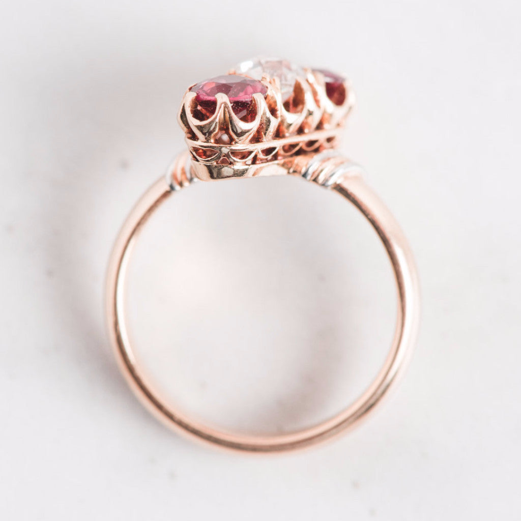 Yellow Gold Diamond and Pink Gemstone Linear Ring Top View
