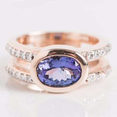 Yellow Gold Diamond and Purple Stone Ring