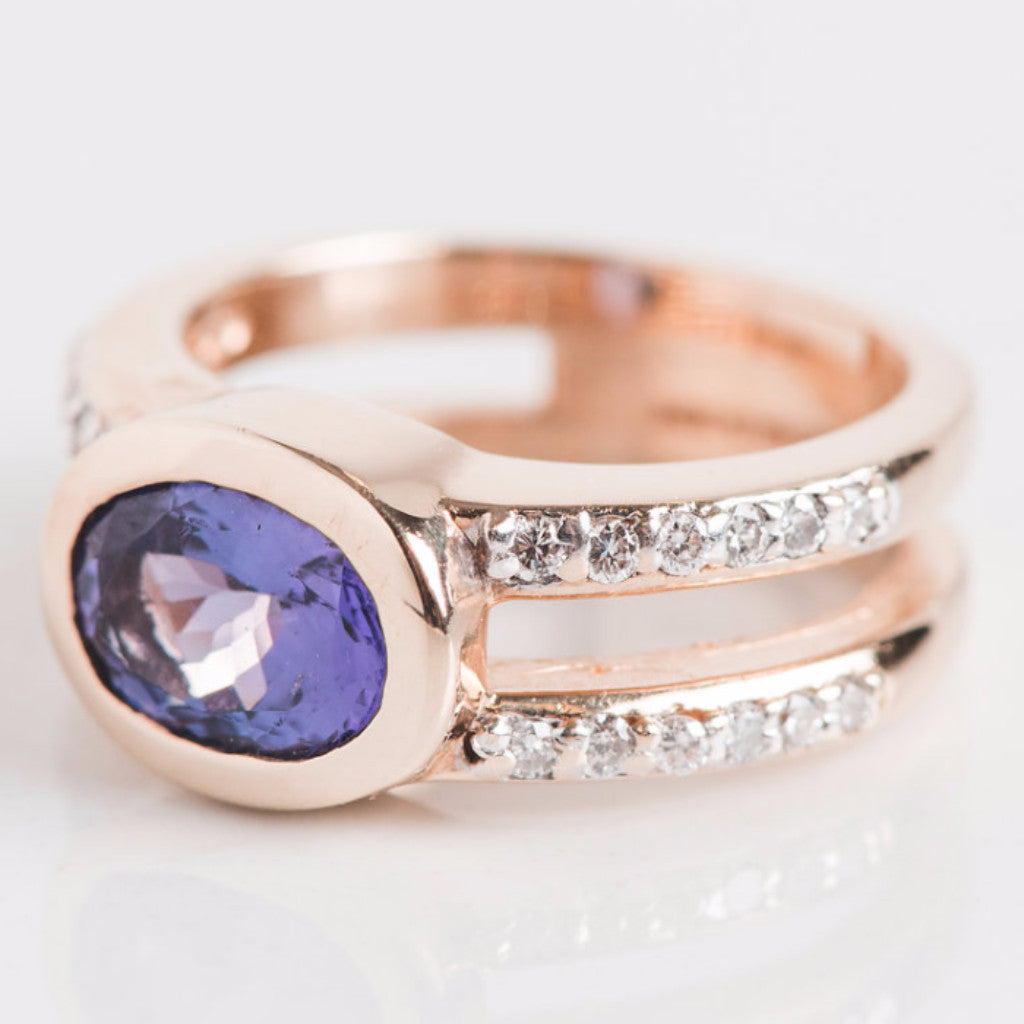 Yellow Gold Diamond and Purple Stone Ring Side View
