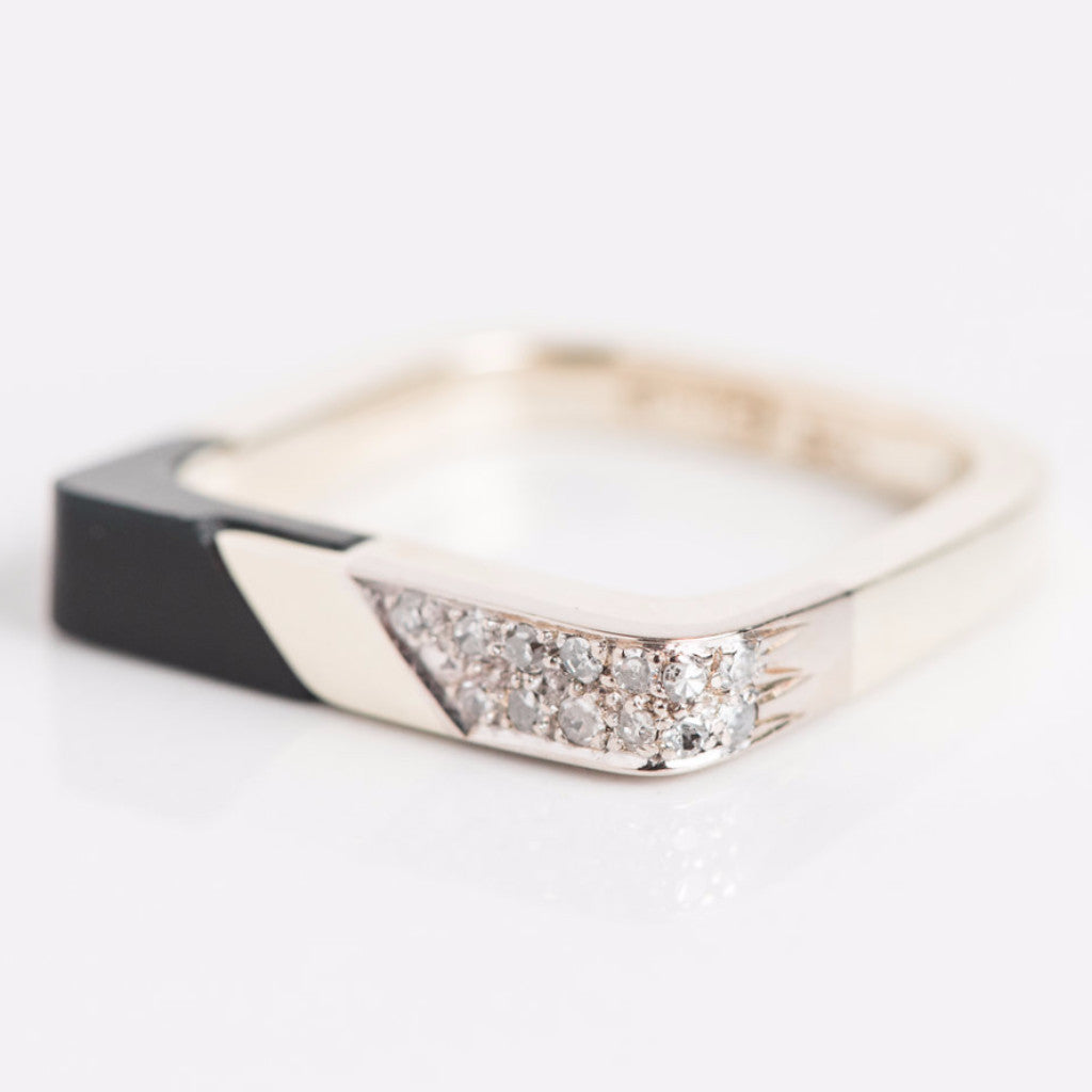 Yellow Gold Black Onyx And Diamond Square Ring Side View
