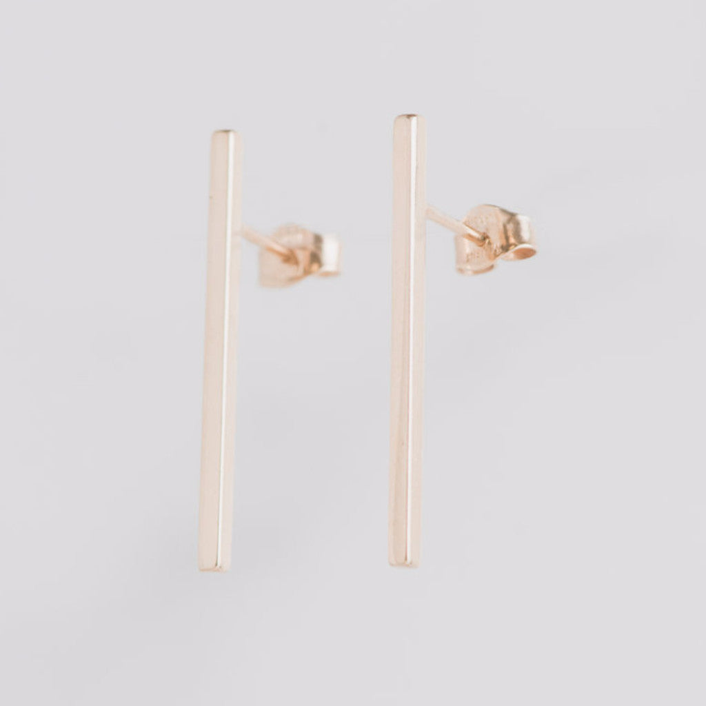 14k Yellow Gold Bar Earrings