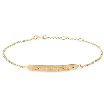 14k yellow gold diamond bar bracelet with engraving and staggered diamonds