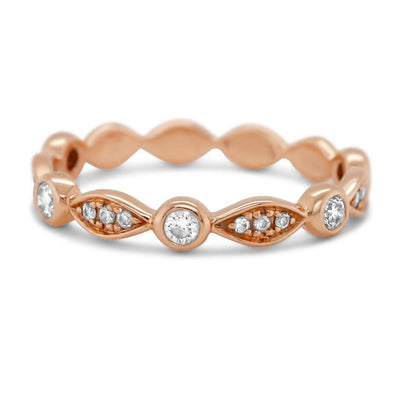 18k rose gold diamond antique eternity style wedding band with bezel and prong set round diamonds