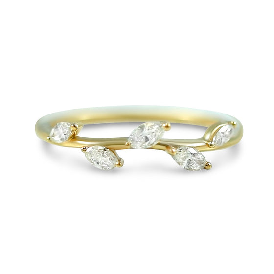 14k yellow gold 1/3ct marquise diamond leaf wedding band or stack ring