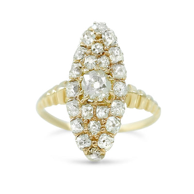 navette shaped victorian dinner ring with old mine cut and round diamonds 14k yellow gold