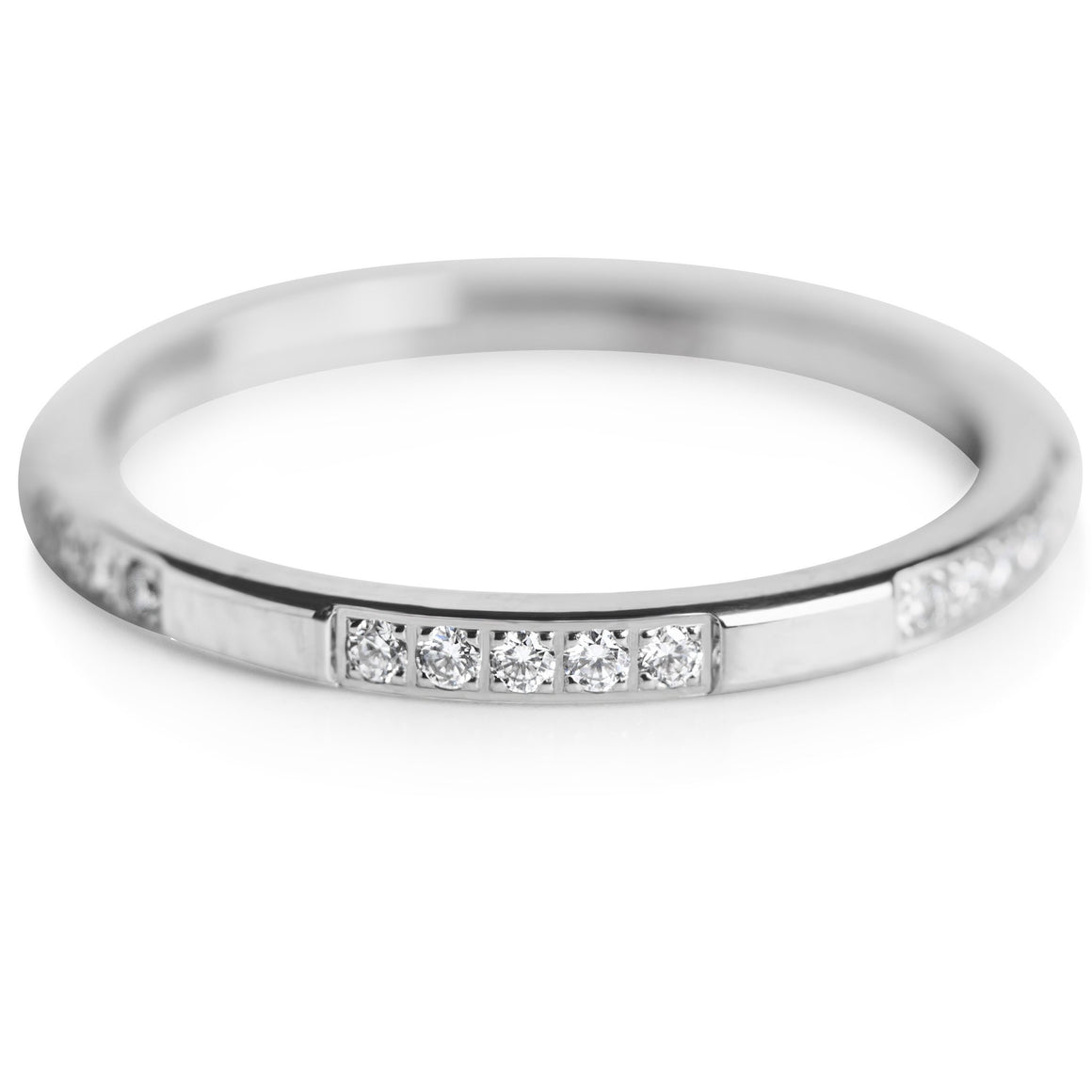 machine set diamonds with a white gold band