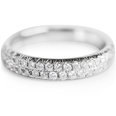 double row diamond anniversary band in white gold
