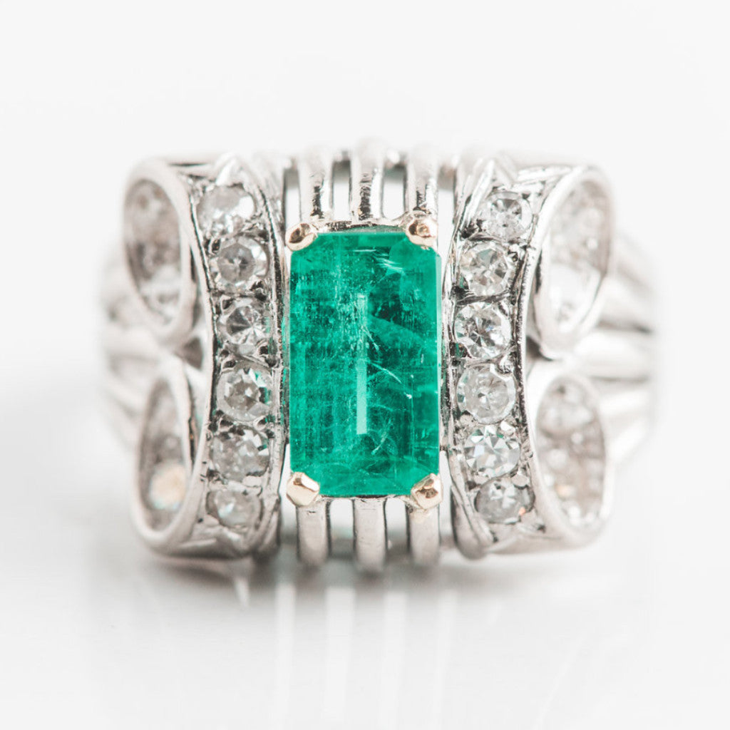 antique white gold emerald engagement ring