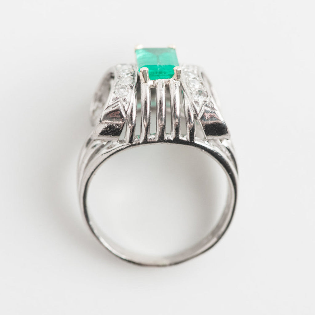 white gold, diamond and green gemstone top view