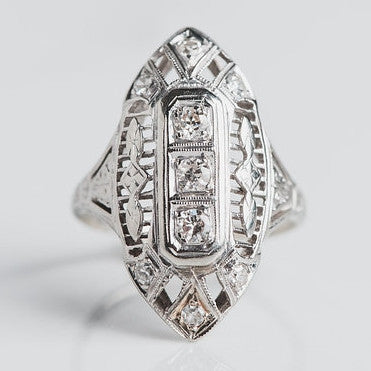 white gold and diamond statement ring