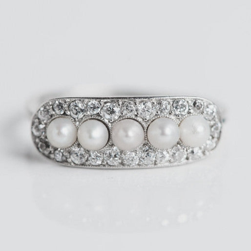 white gold, diamond and pearl antique statement ring