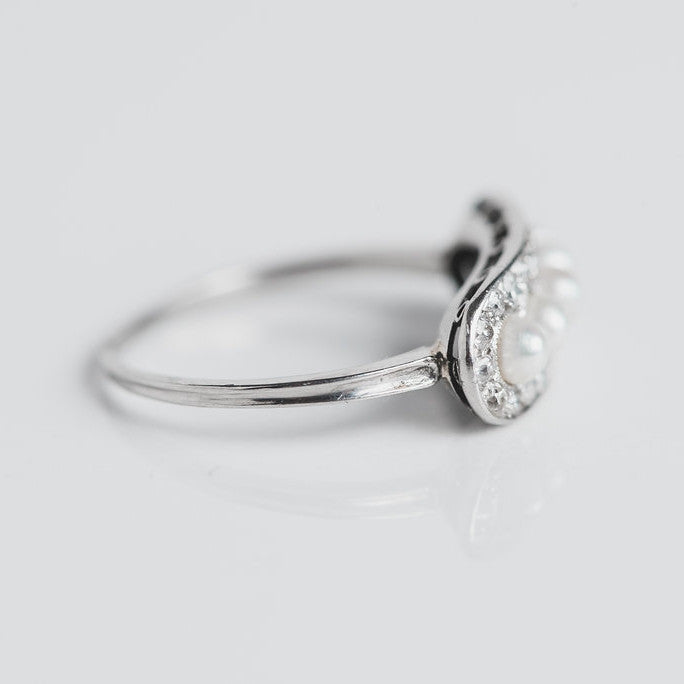 white gold, diamond and pearl antique statement ring side view