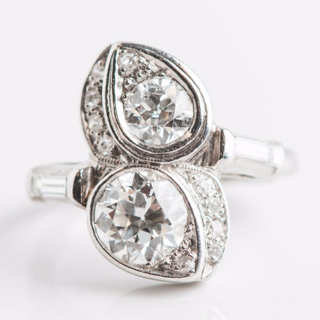 white gold and diamond twin ring