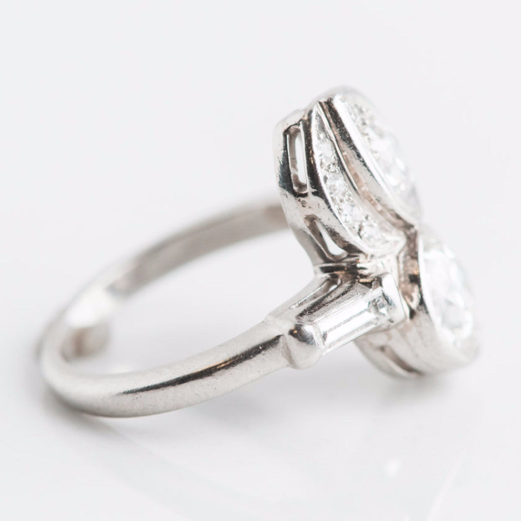 white gold and diamond twin ring side view