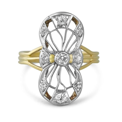 Platinum and 14k yellow gold diamond antique dinner ring