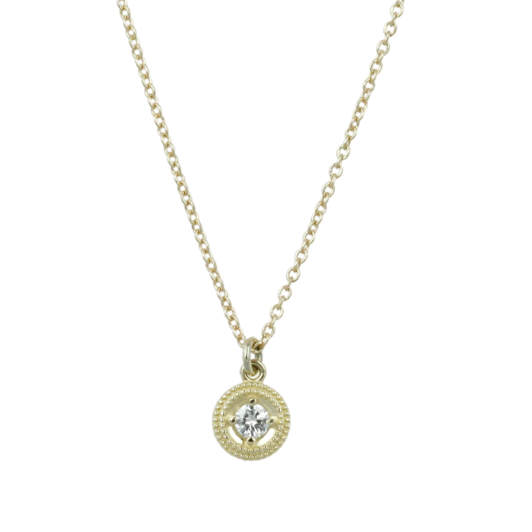 14k yellow gold round diamond beaded circle everyday necklace with a 16in long chain