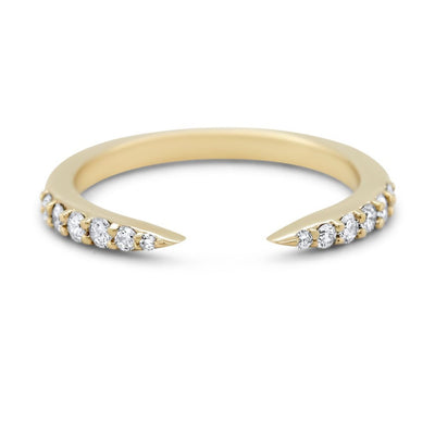 14k yellow white or rose gold open claw style wedding band with diamonds