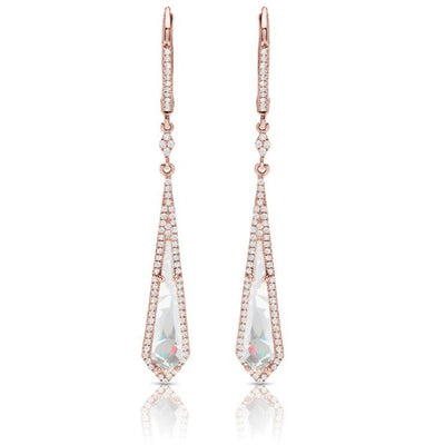 14k rose gold white topaz dangle earrings with diamonds on the lever backs and diamond halos