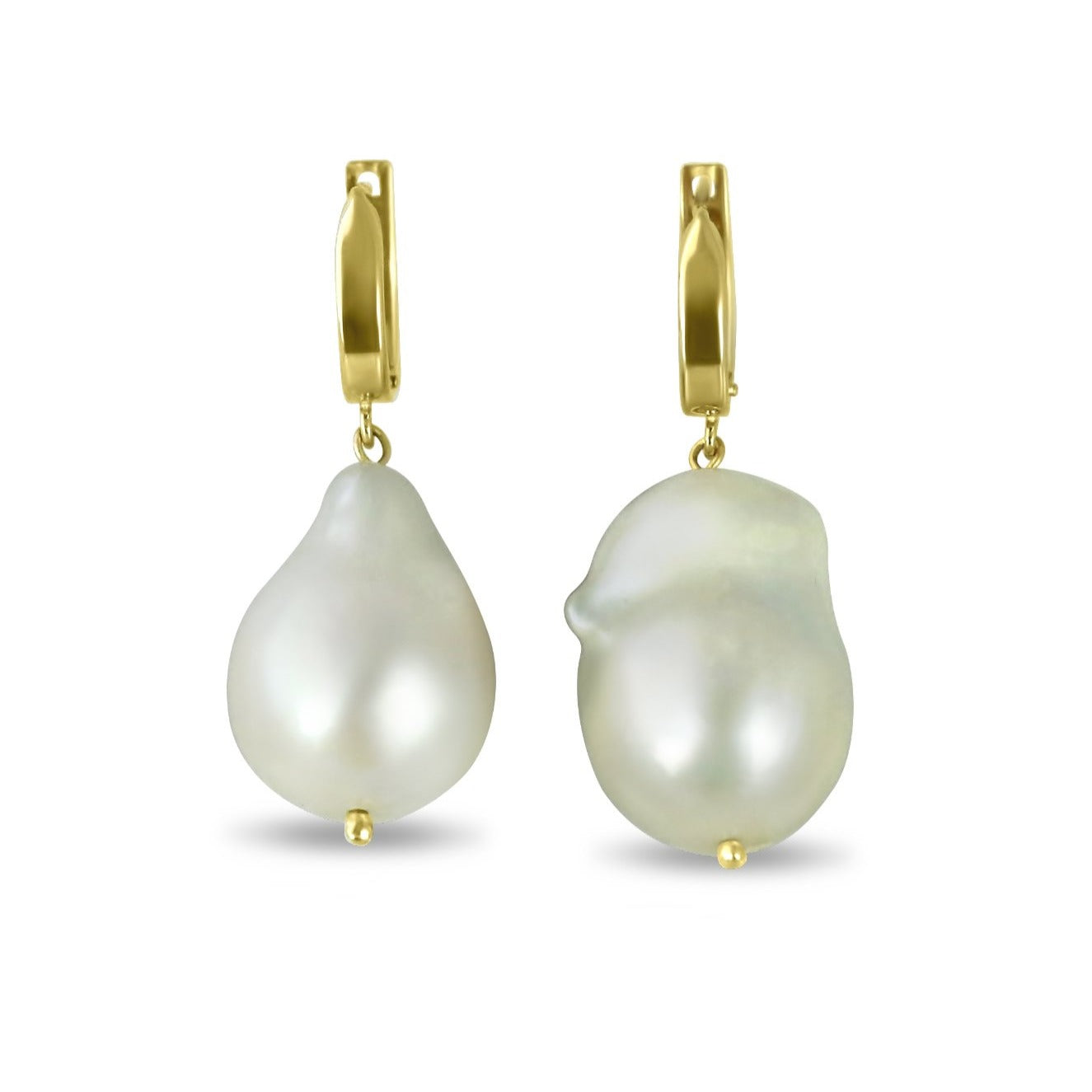 14k yellow gold baroque freshwater pearl dangle earrings